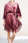 modern luxury mauve velvet bridal robe