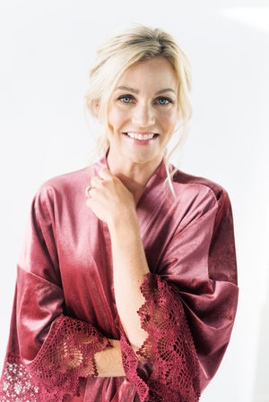 modern bridesmaid robes in mauve velvet
