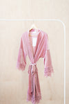 ella winston modern luxury bridal robe in rose pink