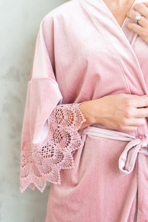 modern luxury bridal robe in rose pink velvet and lace