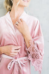 modern velvet and lace bridal robe in rose velvet