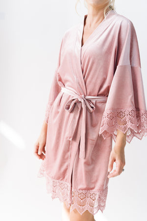 velvet and lace getting ready robe in rose