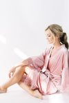 velvet bridesmaid robe in rose pink
