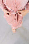 modern luxury rose velvet bridal robe