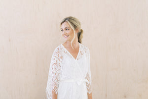 Full White Lace Wedding Day Robe