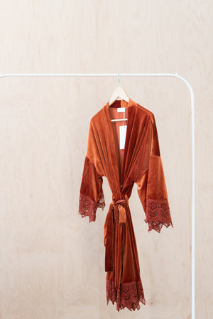 Sunset Orange Bridal Robe For Wedding Day