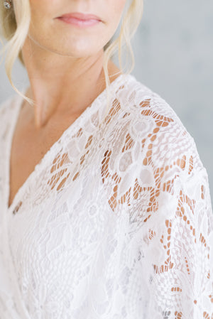 modern luxury bridal robe in white lace