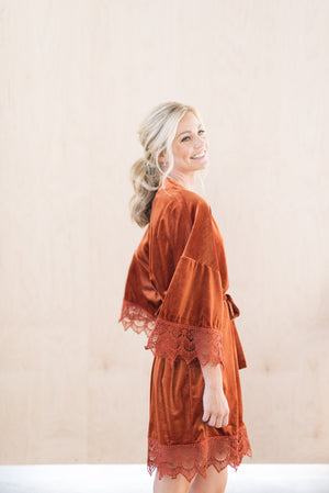 Burnt Orange Velvet Robe