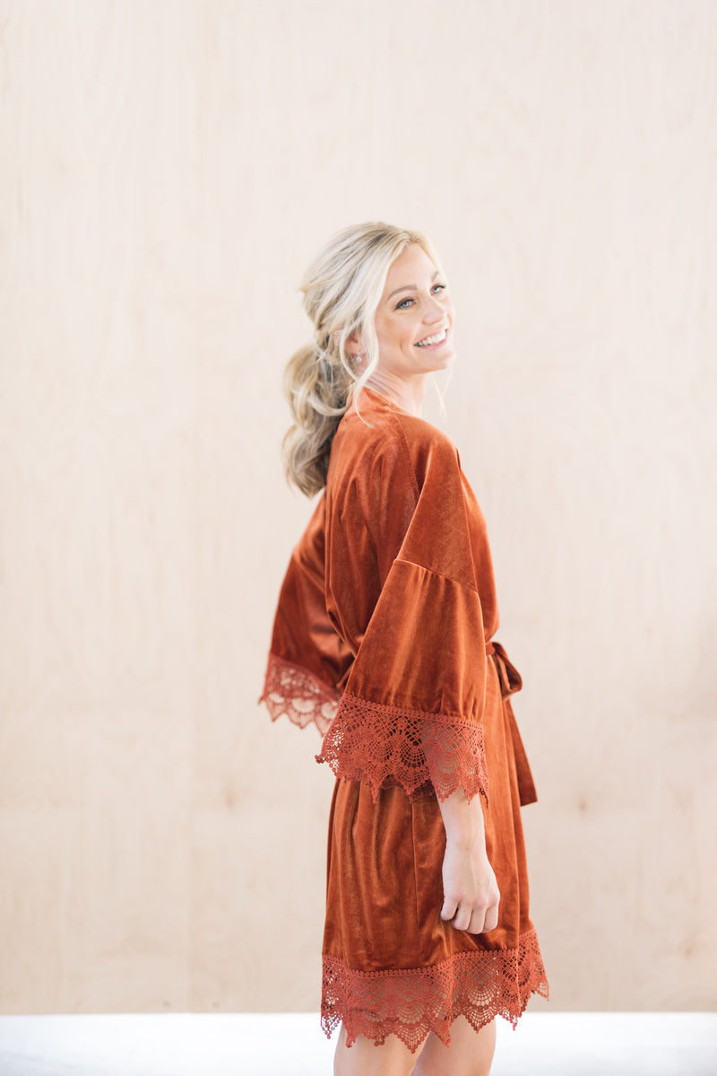 Burnt Orange Velvet and Lace Wedding Day Robe