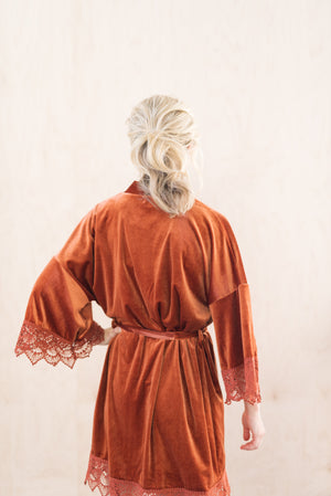 Sunset Orange Wedding Day Robe