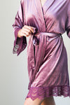 Berry Purple Velvet and Lace Bridal Robe