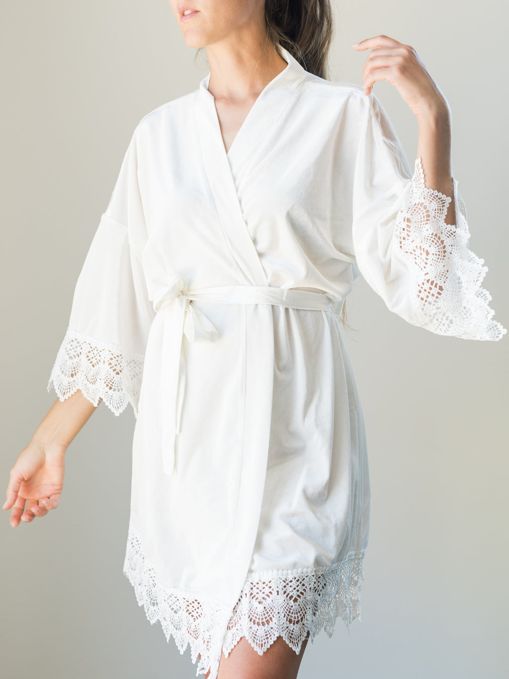 White Velvet And Lace Bridal Robe