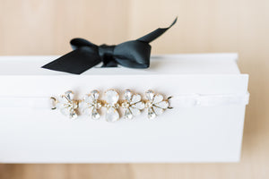 Fan Rhinestone Modern Bridal Garter With White Stretch Velvet