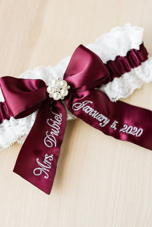 Wine Bridal Garter Set with Pearl Center