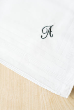 Men's Single Initial Embroidered Handkerchief
