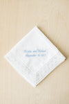 Chapel Lace Handkerchief Embroidered With Light Blue Thread