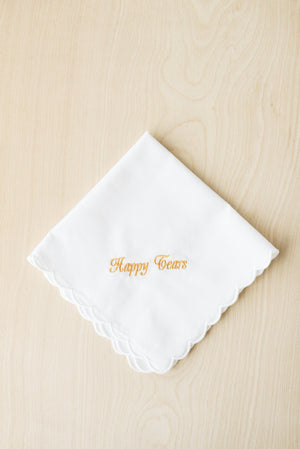 Scallop Edge Handkerchief Embroidered With Gold Thread