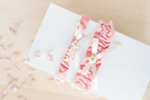 Rose Pink Velvet Bridal Garter Set