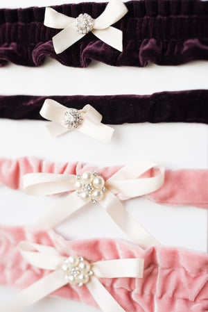 Custom Fit Velvet Bridal Garters