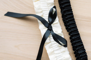 Ivory and Black Classic Bridal Garter