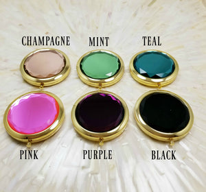 Gold frame jewel top compact mirrors in six colors