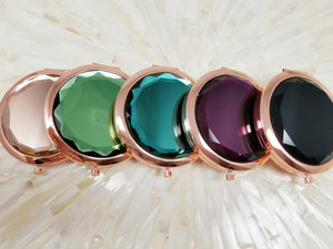 Rose gold jewel top compact mirrors
