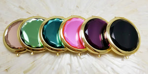 Jewel top compact mirrors in six colors