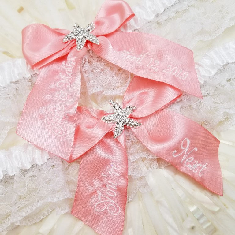 Coral Starfish Bridal Garter, You're Next Toss Garter, Starfish Garter Set