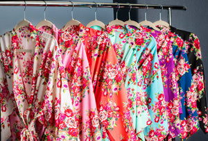 Floral Kimono Bridesmaid Robe in Eight Different Colors