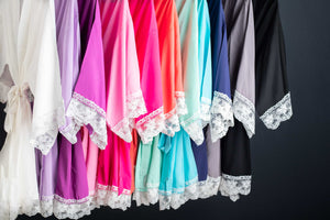 Getting ready robes in 11 colors with white lace trim