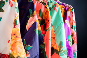 Watercolor Floral Satin Robes