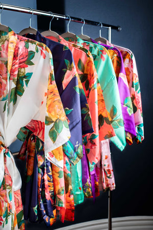 Satin Floral Getting Ready Robes In Six Colors