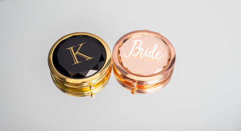 Rose gold compact mirror for the bride