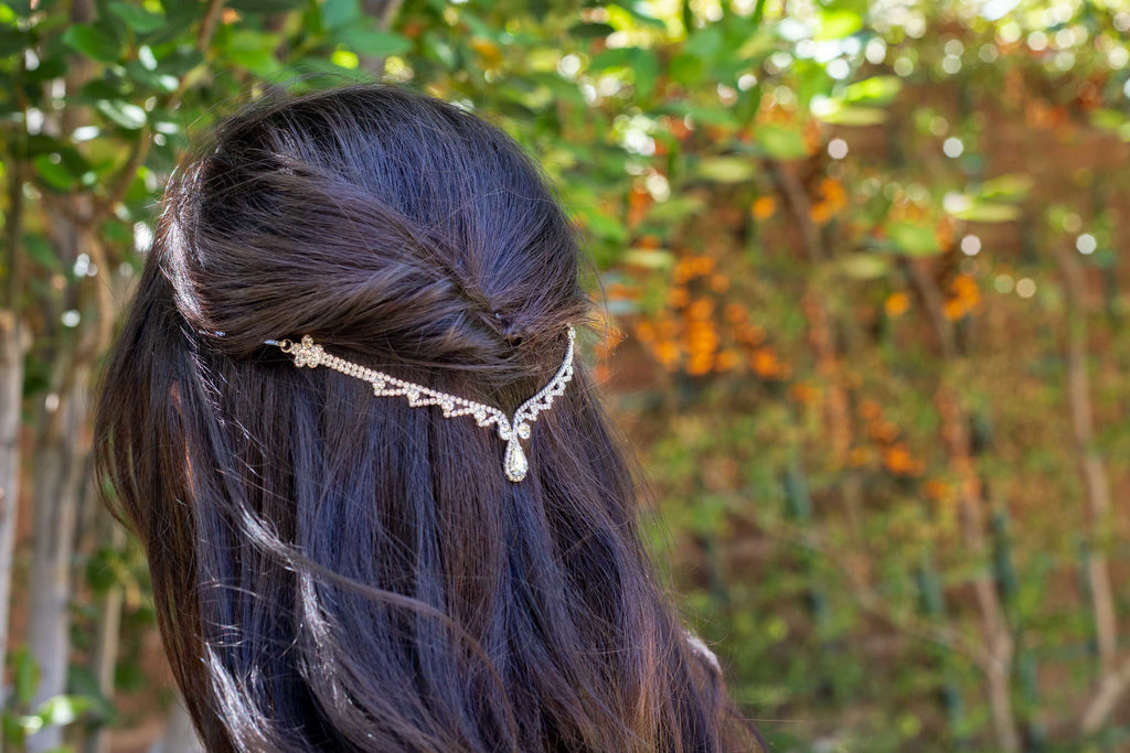 Silver Teardrop Hair Chain