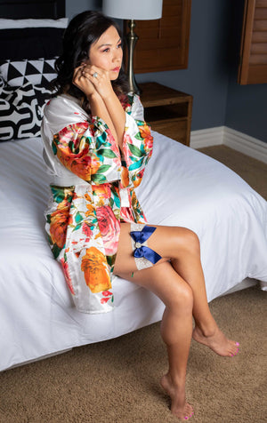 White Satin Watercolor Floral Robe