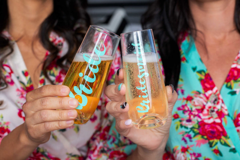 Mint Bridesmaid Stemless Champagne Glass