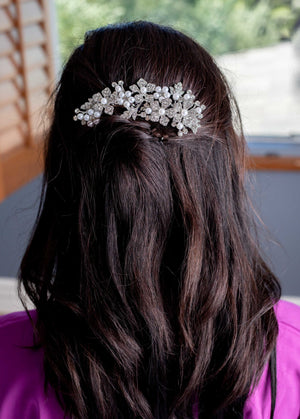 Silver Leaf and Pearl Hair Comb