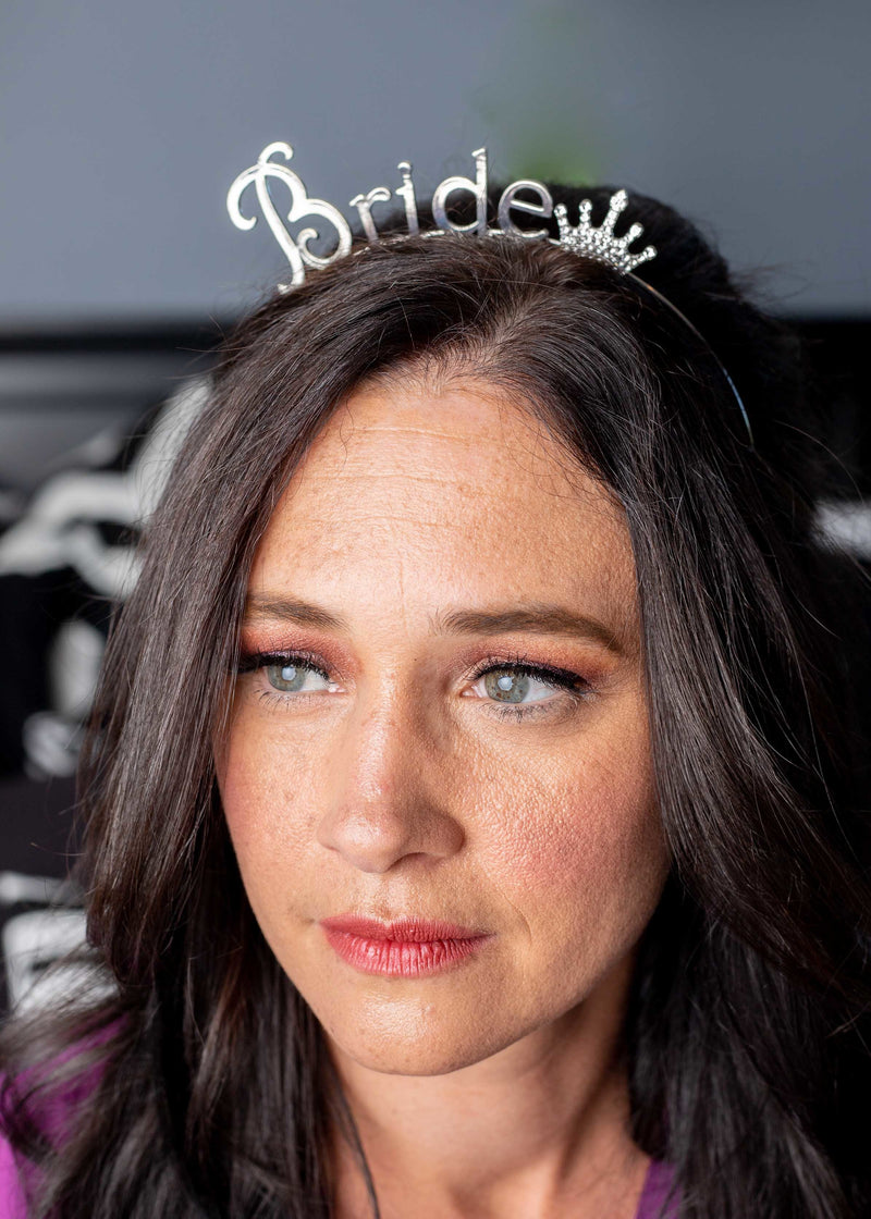 Gold Bride Crown Headband for Bachelorette Party