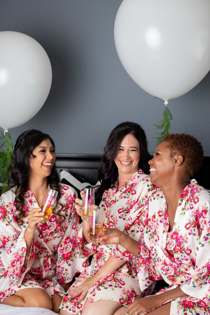 Ivory Floral Bridesmaid Robe