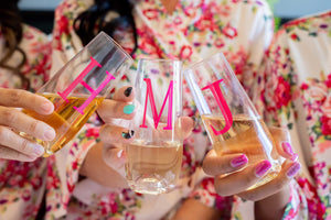 Hot Pink stemless champagne flutes
