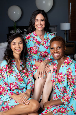 Aqua Blue Bridesmaid Robes