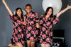 Black Floral Bridesmaid Robes