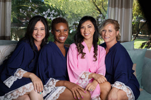 Light pink and navy blue bridal party robes