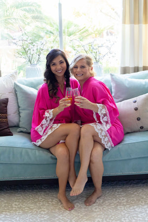 Hot pink cotton bridesmaid robe with white lace trim