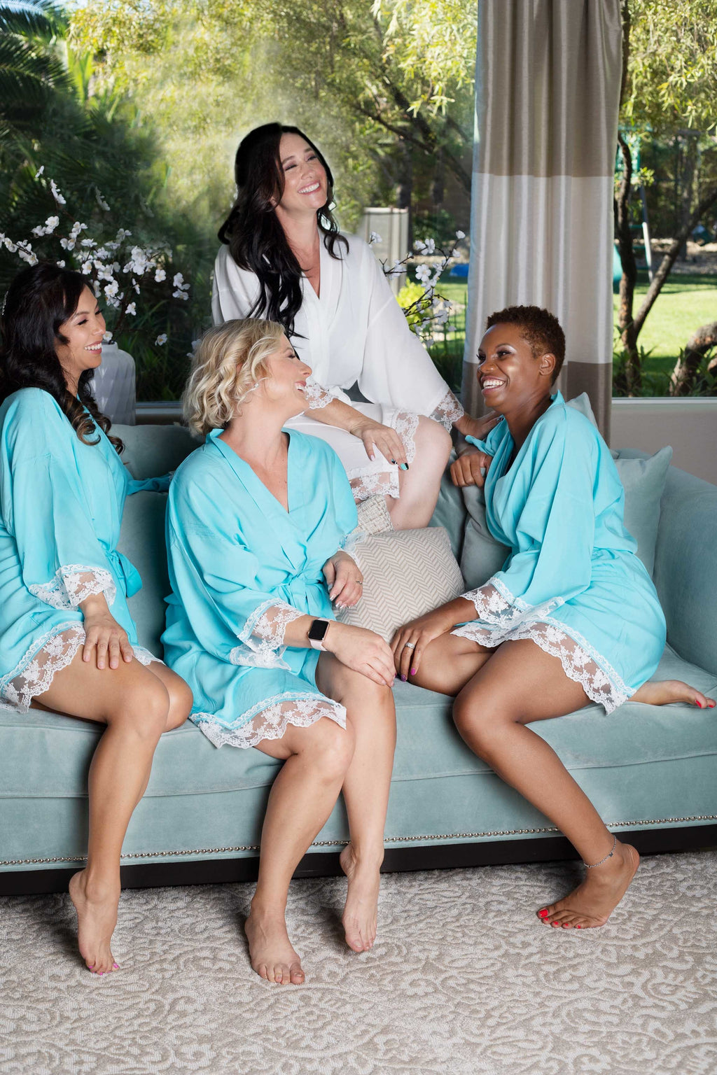 Aqua cotton bridesmaid robes with white lace trim