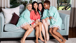 Mint and coral cotton robes with white lace trim