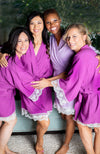 Purple and lavender cotton robes with white lace trim