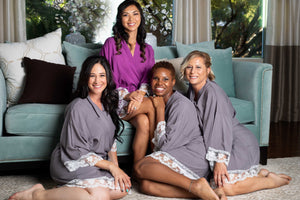 Grey and purple cotton bridesmaid robes