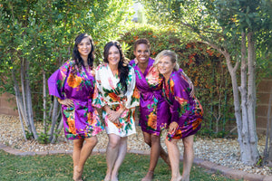 Purple Satin Watercolor Bridesmaid Robe