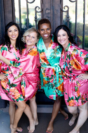 Coral Satin Floral Bridesmaid Robe